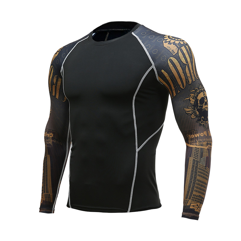 Mens Fitness Long Sleeves Rashguard T Shirt Men Running Bodybuilding Skin Tight Thermal Compression Shirts Gym Workout T-Shirt