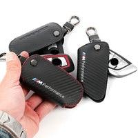 Leather Carbon Fiber Key Holder Wallet Bag M Emblem Key Case For Bmw F30 F10