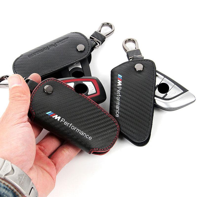 Leather Carbon Fiber Key holder wallet bag //M Emblem Key Case For Bmw F30 F10 F20 X3 X1 X5 X6 Car Case Key For Bmw M Key cover