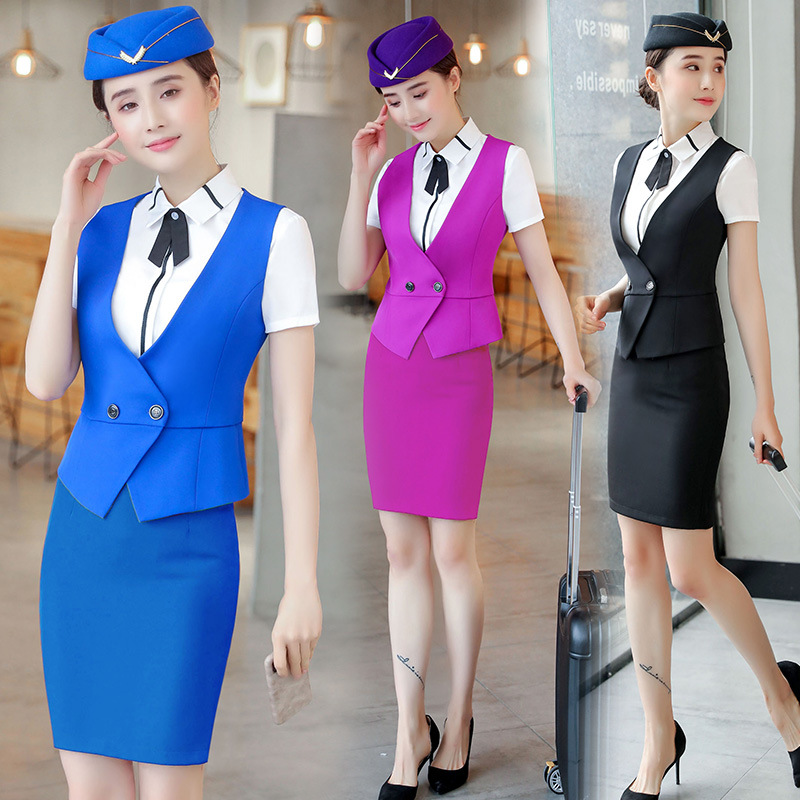 IZICFLY New Skirt Suit Vest Waistcoat Formal Tailleur Femme Jupe Et Veste Elegant Women Airline Stewardess Uniform Work Wear