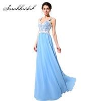 Elegant Spaghetti Strap A Line Evening Dresses 2015 Hot Sale Sexy Sky Blue Chiffon Prom Gowns