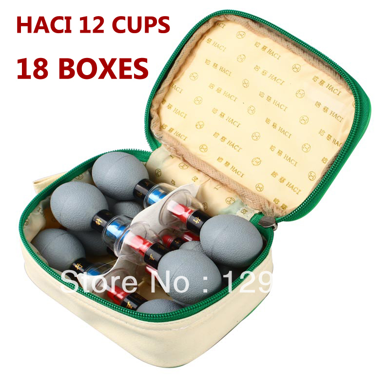WHOLESALE-18 BOXES-Classic HACI Magnetic Acupressure Suction Cupping Set - 12 Cups WuXingZhen