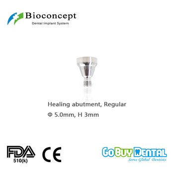 Osstem TSIII&Hiossen ETIII Compatible Bioconcept Hex Regular healing abutment D 5.0mm, height 3mm(324110) 1x angular 17 degree one piece multi unit abutment for internal hex dental implants bio effect