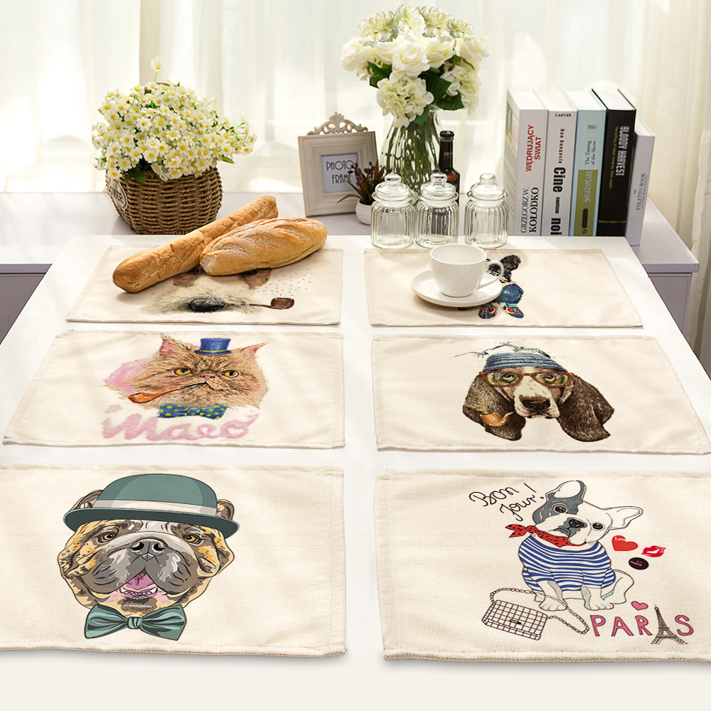 Burlap Home Decor: 42*32cm Pet Dog Table Dinner Burlap Placemats For Wedding