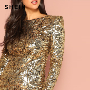 Image 5 - SHEIN Gold Form Fitting Sequin Round Neck Long Sleeve Bodycon Dress Autumn Weekend Casual Going Out Women Solid Elegant Dresses