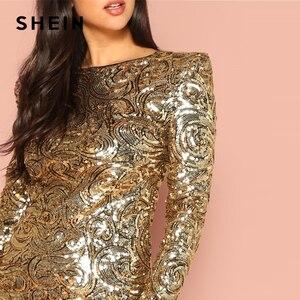 Image 5 - SHEIN or forme raccord Sequin col rond manches longues moulante robe automne week end décontracté sortie femmes solide élégant robes