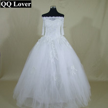 QQ Lover 2017 New Half Sleeves Lace Off The Shoulder Ball Gown Wedding Dress Bridal Gown Vestido De Noiva
