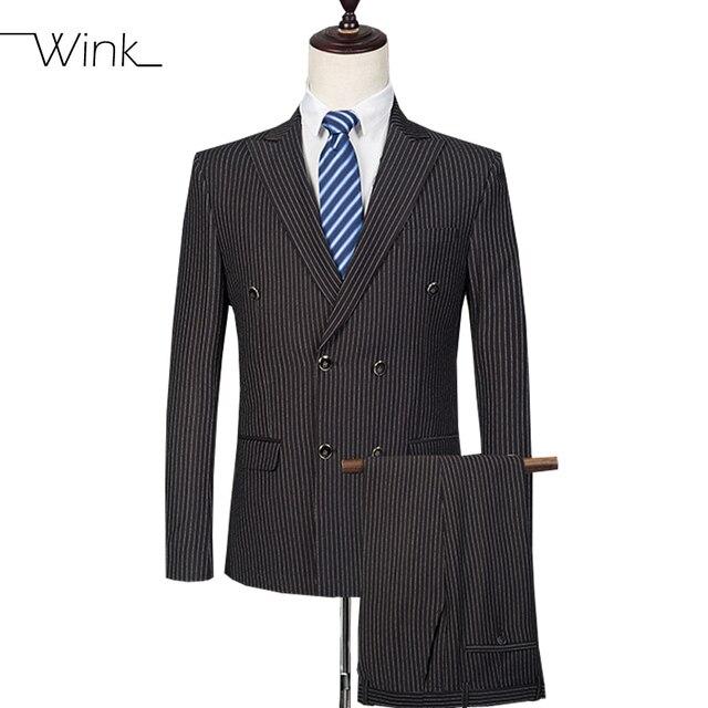(Куртка + Тяжелое Дыхание) высокое Качество мужская Полосатые Костюмы С Брюки Свадебные Костюмы Slim Fit Blazer Ternos мужской Классический Черный E553