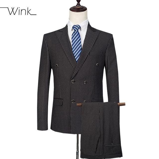 (Jaqueta + Calça) alta Qualidade Listrado dos homens Ternos Com Calças Ternos de Casamento Slim Fit Blazer Ternos Masculino Clássico Preto E553
