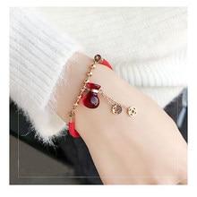 88a1d1363446 Pulsera Manchette Mujer Acero inoxidable resina pulseras buena suerte bolsa  de la suerte Color oro rosa brazalete rojo cuerda ca.