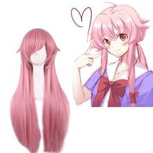 цена на 2019 New Anime Mirai Nikki Gasai Yuno Wig Cosplay Costume The Future Diary Women Long Hair Halloween Party Wigs + Wig Cap