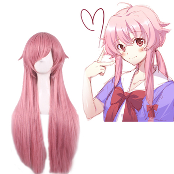 цена на 2019 New Anime Mirai Nikki Gasai Yuno Wig Cosplay Costume The Future Diary Women Long Hair Halloween Party Wigs + Wig Cap