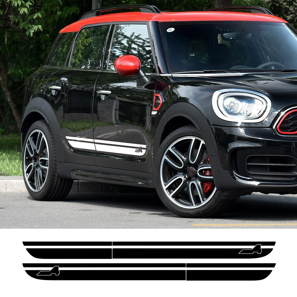 2pcs Car Styling Door Side Stripes Skirt Sill Decal Sticker for Mini Cooper S Countryman F60 2017-Present All4 Sport Accessories aliauto car styling car side door sticker and decals accessories for mini cooper countryman r50 r52 r53 r58 r56