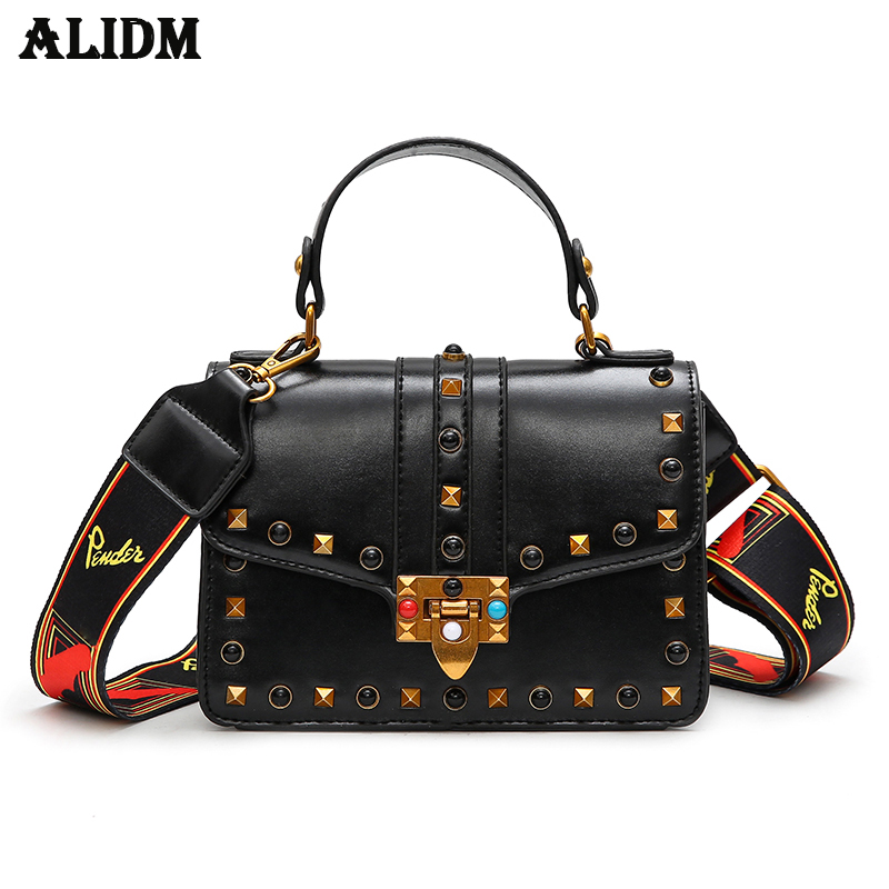 New Arrival Pu Leather Coloured Shoulder Straps Women Handbags Female Fashion Rivet Bags Crossbody Bags1889 In From