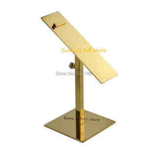 Image 1 - Free Shipping 10PCS/lot stainless steel Gold adjustable height heels holder rack shoes display shelf stand
