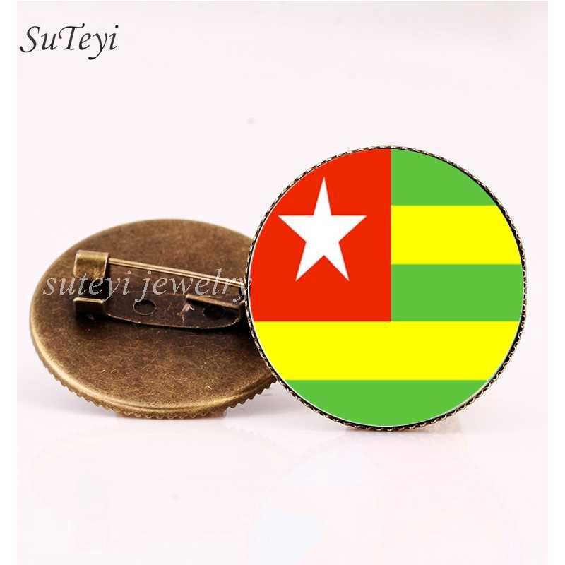SUTEYI Burkina Faso/บุรุนดี Badge เข็มกลัดอิเควทอเรียลกินี/Togo/Eritrea ป้ายแก้วเข็มกลัดเข็มกลัดแอฟริการูปแบบธงเครื่องประดับ