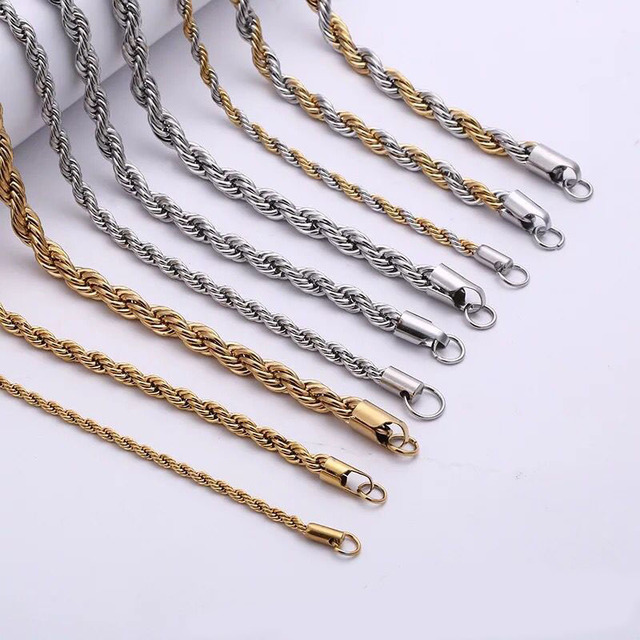 MxGxFam Titanium steel Rope Chain Necklaces Jewelry For Men Gold Color    White Gold Color   2 Gold Color Different Size f2334cb98cd3
