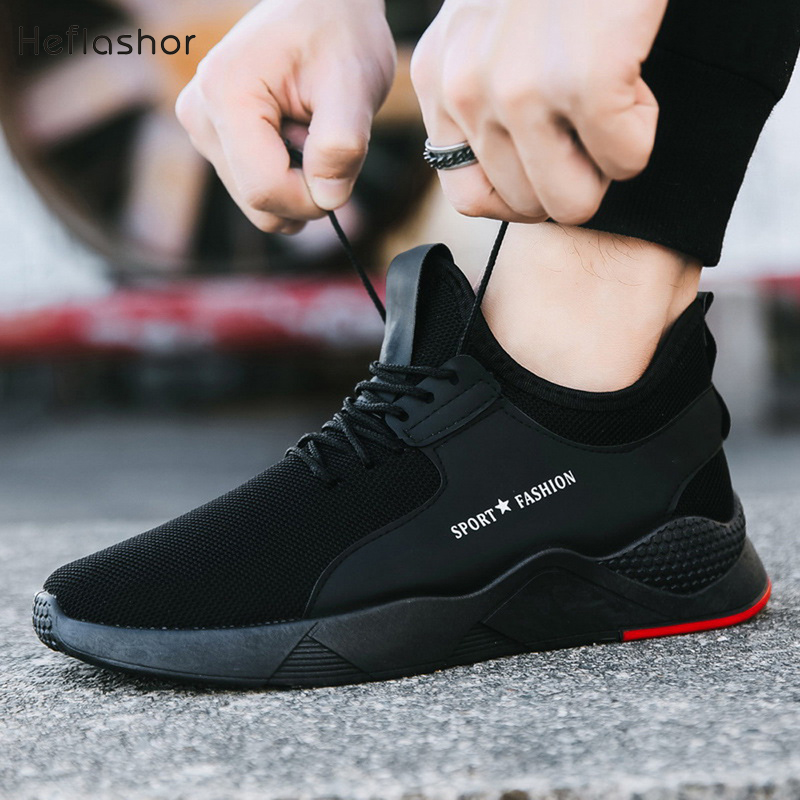 HEFLASHOR Summer Black Men Vulcanize Shoes Breathable Casual Sports Male Sneakers Mesh Trainers Lace-up Flat Shoes Plus 39-44(China)