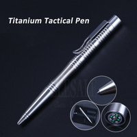 High Quality Self Defense Titanium Tactical Pen With Compass Tungsten Steel Head For Self Defense Weapon