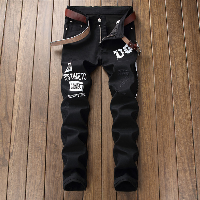 Stylish black printed stretch casual pencil pants scratch slim pantalon homme fit   jeans   men nightclub cool boy streetwear teen
