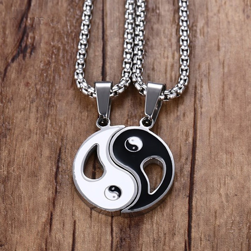 2 PCS Mens Two Tone Amulet <font><b>Yin</b></font> <font><b>Yang</b></font> BA GUA Trigrams Pendant Necklace Stainless Steel Women Couples Male Jewelry <font><b>Colar</b></font> 60 Inch image