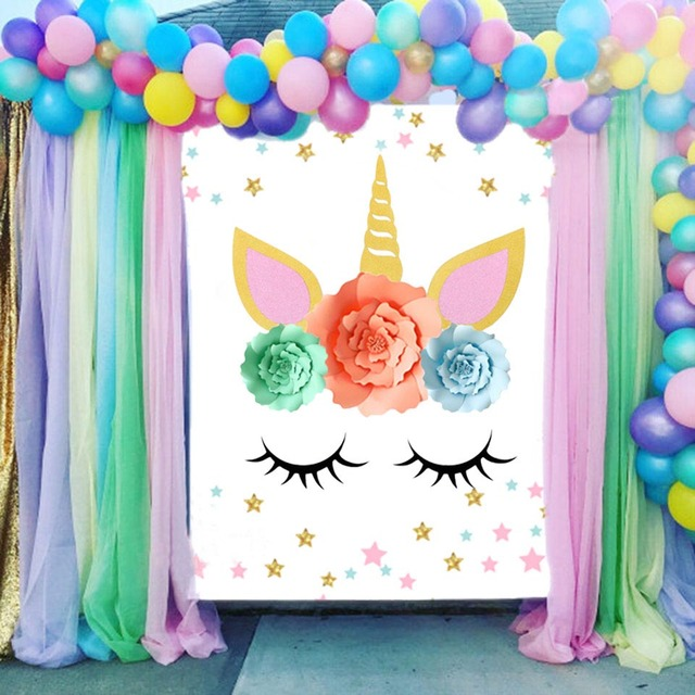 Unicorn Party Flower Backdrop Wall Sticker Christmas Decorations For Home Wedding Baby Shower Birthday