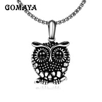 GOMAYA Stainless Steel Owl Pendant Necklace Black Inlay Zircon Animal Jewelry Men Women Personality Fashion Gift