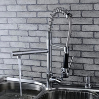 Hot Sale Polished Chrome Brass Kitchen Faucet Spring Style Swivel Spout Single Handle Vessel Mixer Tap Dual Spouts 530mm Height