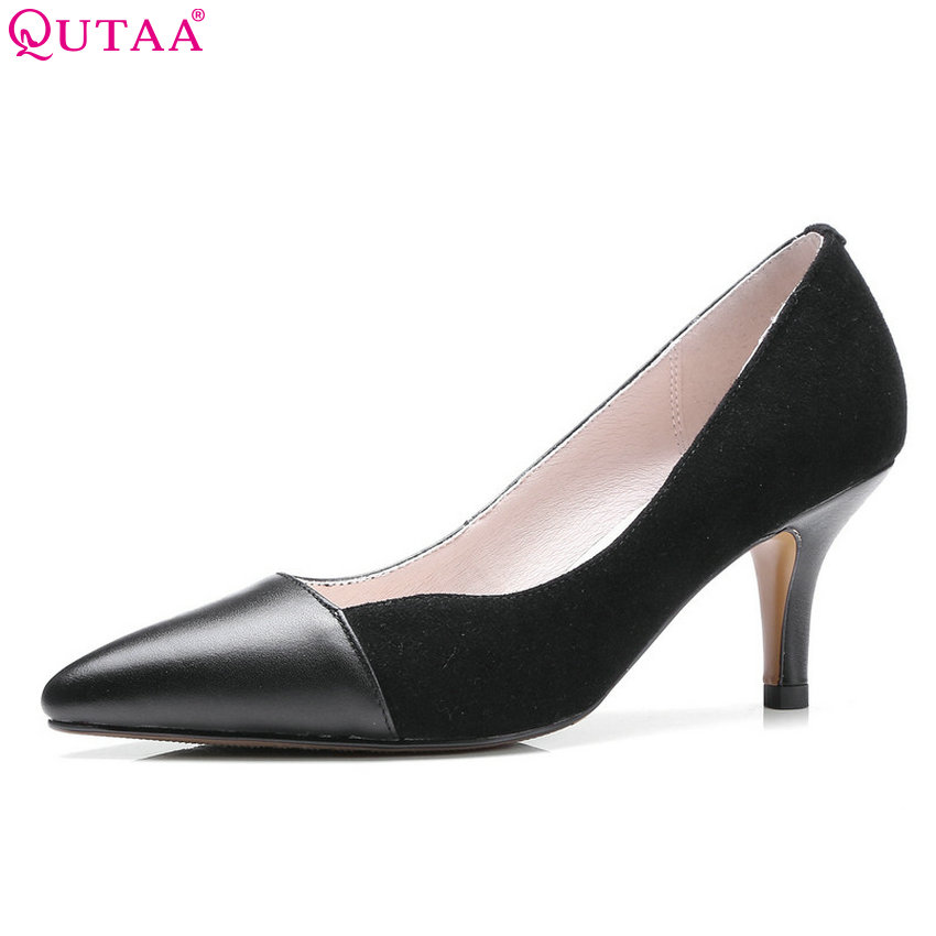 QUTAA 2018 Women Pumps Thin High Heel Pointed Toe Women Shoes Shallow Slip on Genuine Leather+Pu Casual Ladies Pumps Szie 34-39 red spring autumn women s low heel pumps flock plain pointed toe shallow slip on ladies casual single shoes zapatos mujer black