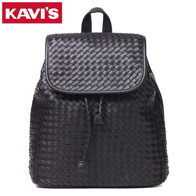 Hot Sale Famous Brands Designer Handmade Women Backpack Weave High Quality PU Leather Rucksack Black School