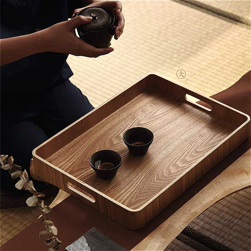Round/oval/rectangular Serving Tray Wood Plate Tea Food Server Dishe Drink Platter Food Plate Dinner Beef Steak Fruit Snack Tray