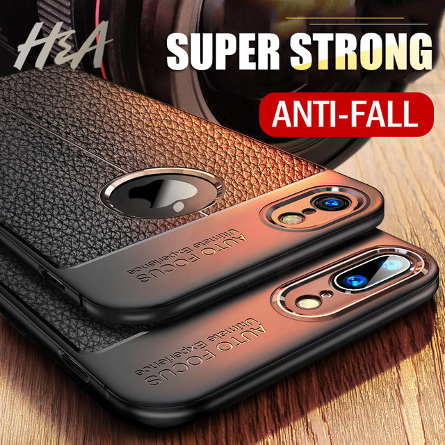 H&A Luxury Litchi Leather Material Phone Case For iPhone