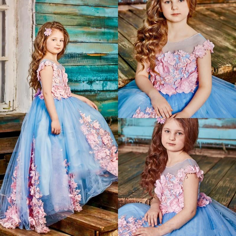 Well-Designed Glitz   Flower     Girl     Dress   with Handmade   Flowers   Beading For Special Occasion Any Size Any Color   Girls   Formal Wears