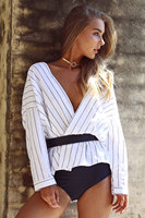 2018 New Hot Sale Women S Strip Blouses Summer Deep V Neck Sexy Beach Style Shirts