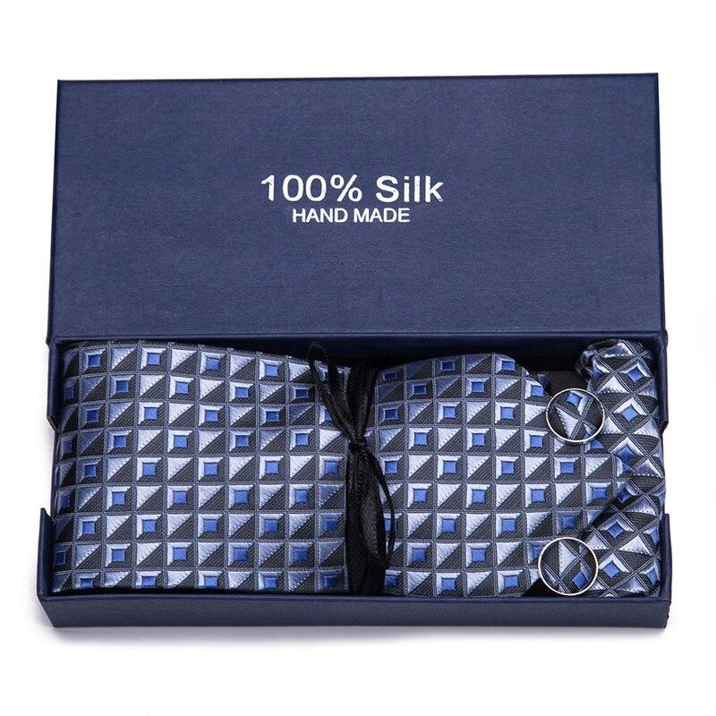 Quality Tie Set For Men 7 5cm Necktie Plaid Gravata Pocket Square Paisley Silk Tie Handkerchief Cufflinks Ties for Men in Men 39 s Ties amp Handkerchiefs from Apparel Accessories