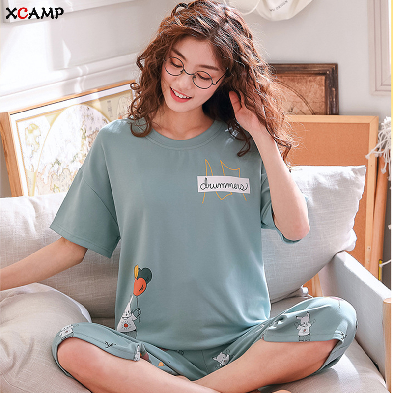 XCAMP Women Sleepwear Summer Clothes For Women Pajamas Set Calf- Length Pants Cotton Print Casual Style Women Nightgown
