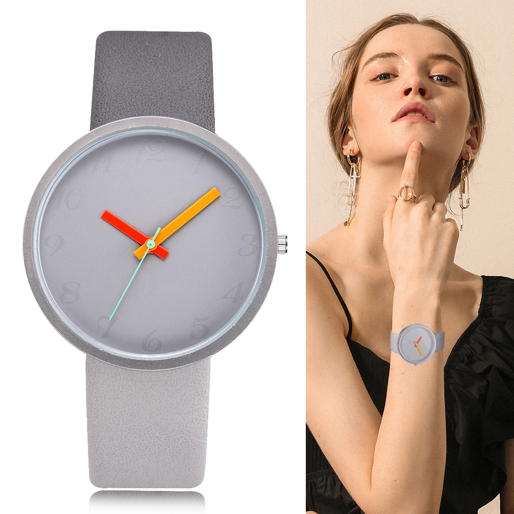 Women Watch Gray Contrast Leather Quartz Watch  Lovers Unisex Casual Ladies Wrist Watch  Clock Feminino