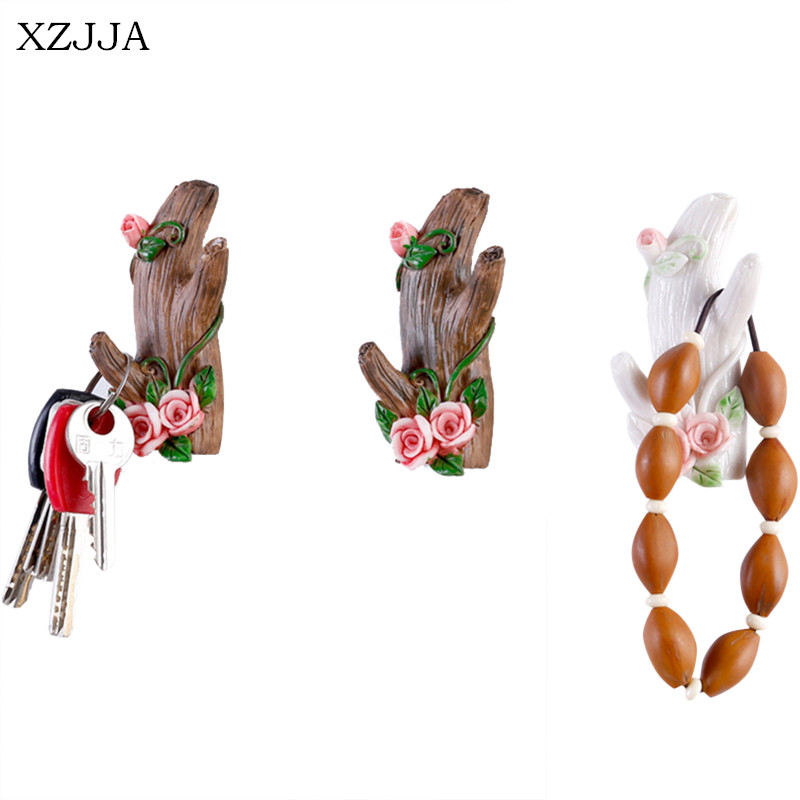XZJJA Creative Imitation Tree Branch Shape Storage Hook Wall Decor Jewelry Key Organize Hanging Holder Kitchen Bathroom Hooks