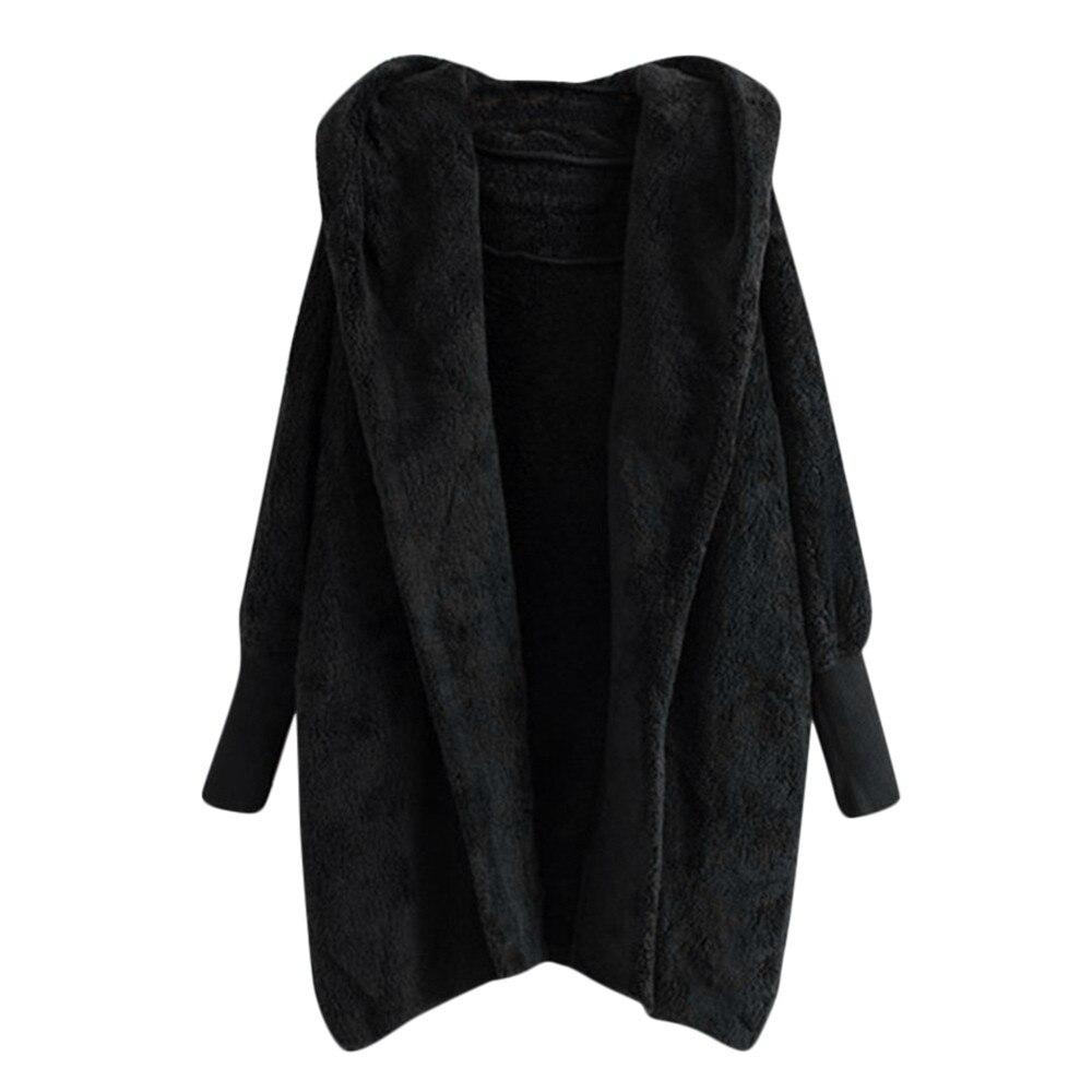 Women Hooded Coat Winter Warm Plush Pockets Cotton Coat Outwear Casual Hoodies Jacket Overcoat Top female outerwear 4