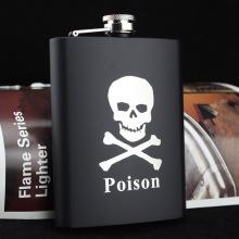8oz Stainless Hip Flask Whisky Vodka Hip Flask Flagon Cool Old Man/Skull Black Flagon tropicisle living jamaican black castor oil 8oz