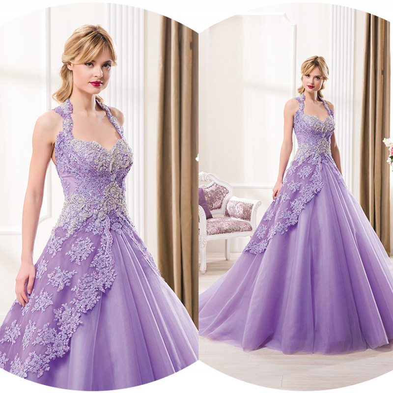 Purple Color Lace Wedding Dresses Ball Gown Luxury Crystal Long