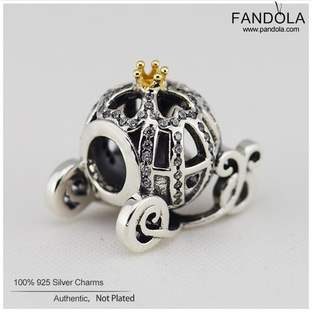 DIY Fine 925 Sterling Silver Charms Jewelry Cinderella Pumpkin Beads for Women Jewelry Making Fits Pandora Charms Bracelet