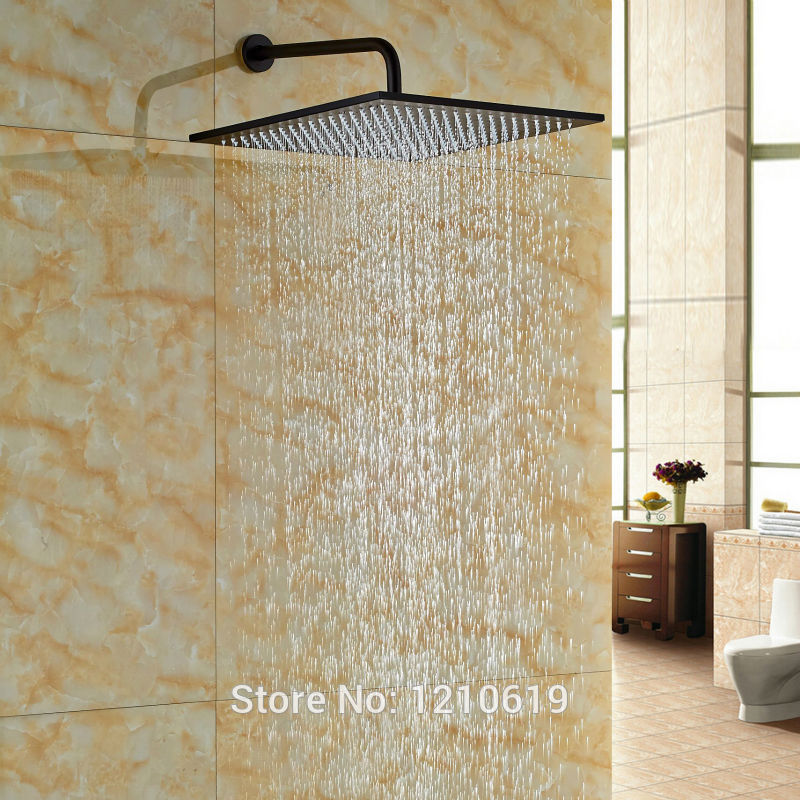 Newly Big Square Top Shower Head w/ Shower Arm Oil-rubbed Bronze 16 Inch Shower Spray Head Wall Mount newly color changing led 16 rain shower head sprayer oil rubbed bronze top shower head w arm wall mount