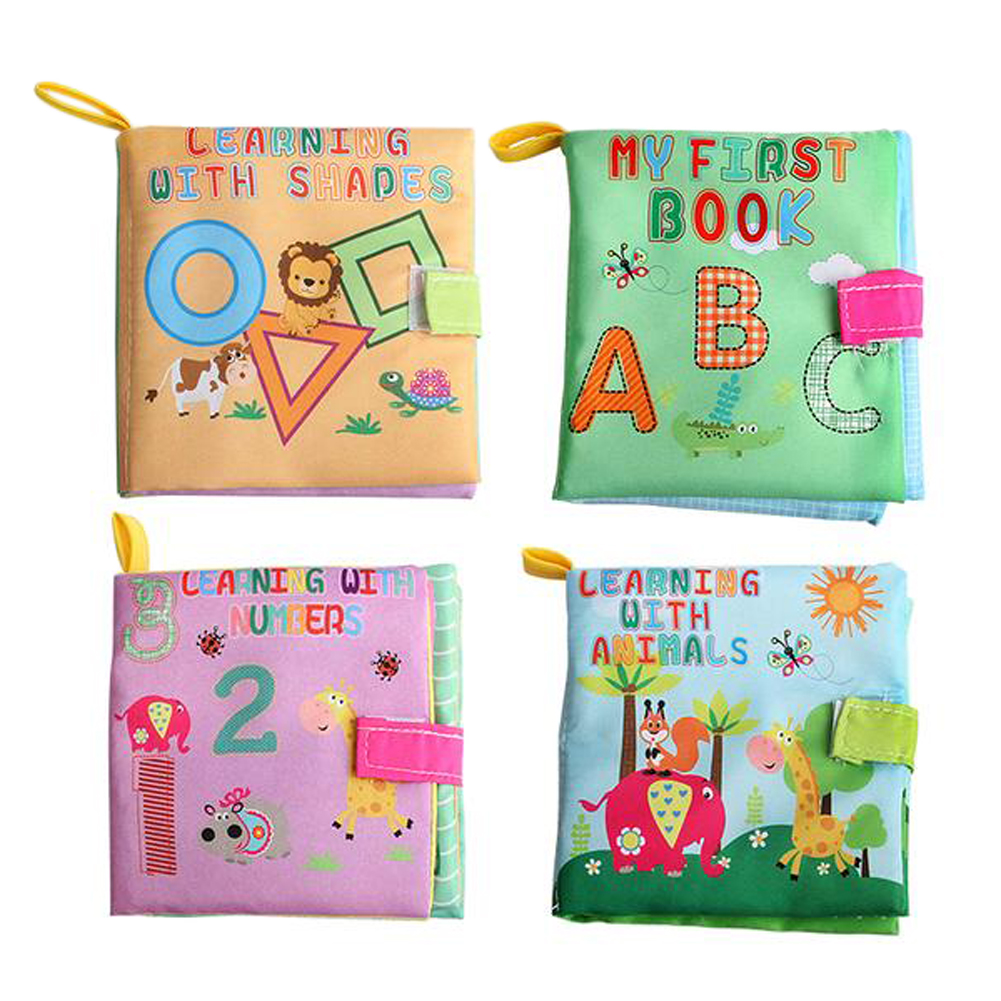 4 Style Educational Baby font b Toys b font Rattles Soft Cloth Books font b Toys