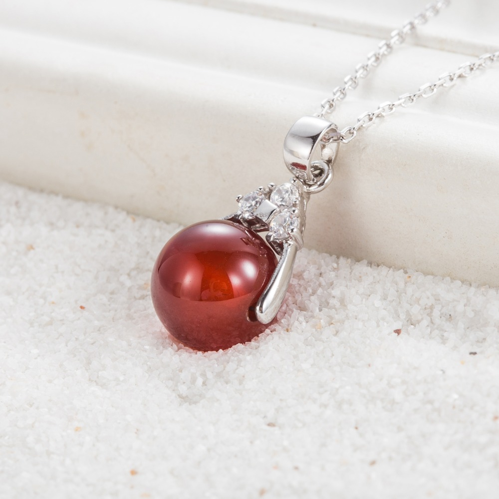 925 Sterling Silver Pendants With 12MM Agate Bead Stone Sterling Silver Pendants in Pendants from Jewelry Accessories