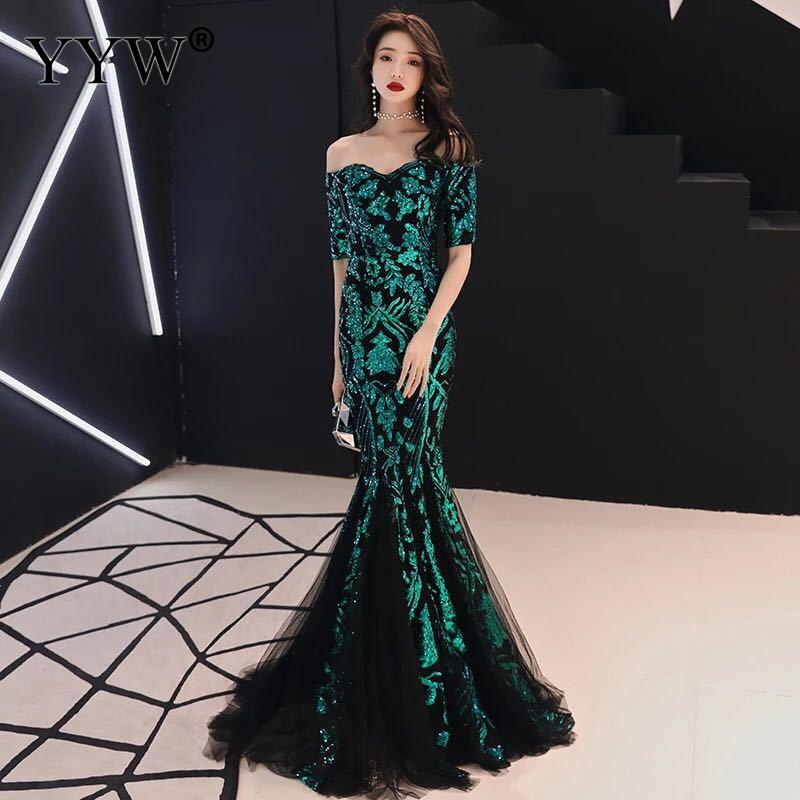 Green Leaf Sequined Off Shoulder Evening Dresses Luxury Sexy Robe De Soiree Long Mermaid Party Dress Elegant Cocktail Clubwear(China)