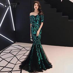 Вечерние платья с зелеными листьями, расшитые блестками, с открытыми плечами, роскошное сексуальное длинное вечернее платье-русалка, Элега...
