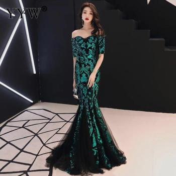 Green Leaf Sequined Off Shoulder Evening Dresses Luxury Sexy Robe De Soiree Long Mermaid Party Dress Elegant Cocktail Clubwear - discount item  25% OFF Special Occasion Dresses