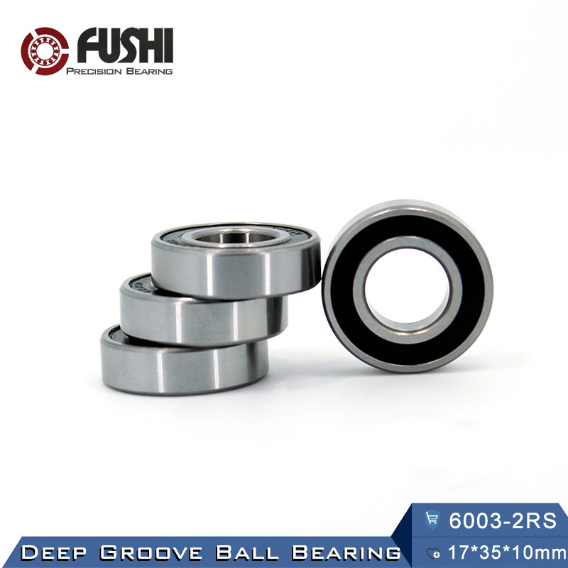 6003RS Bearing ABEC-3 (6 PCS) 17*35*10 mm Deep Groove 6003-2RS Ball Bearings 6003RZ 180103 RZ RS 6003 2RS EMQ Quality 6312rs bearing abec 3 1 pcs 60 130 31 mm deep groove 6312 2rs ball bearings 6312rz 180312 rz rs 6312 2rs emq quality