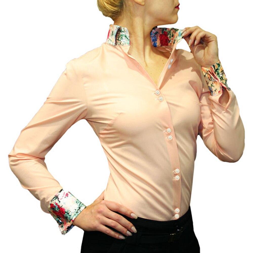 Dámské bavlněné košile New Arrival, francouzská manžeta, jasná barva, dlouhý rukáv, malý knoflík s límcem s kontrastem tisku